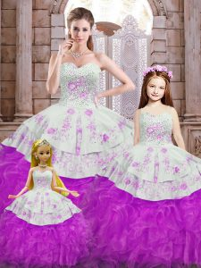 White And Purple Organza Lace Up Sweet 16 Dresses Sleeveless Floor Length Beading and Appliques and Ruffles
