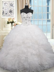 Traditional White Quinceanera Dresses Organza Brush Train Sleeveless Beading and Ruffles