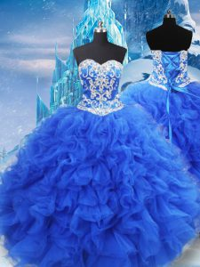 Modest Sleeveless Organza Floor Length Lace Up Quinceanera Dress in Blue with Beading and Ruffles