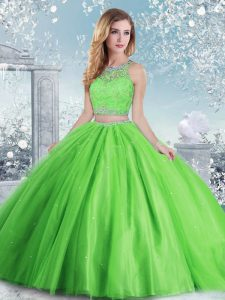 Sweet 16 Quinceanera Dress Military Ball and Sweet 16 and Quinceanera with Beading and Sequins Scoop Sleeveless Clasp Handle