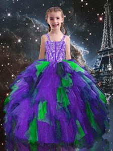 Best Sleeveless Beading and Ruffles Lace Up Girls Pageant Dresses