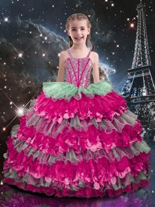 Trendy Multi-color Sleeveless Beading and Ruffled Layers Floor Length Kids Formal Wear