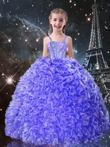 Blue Lace Up Straps Beading and Ruffles Pageant Dress Organza Sleeveless