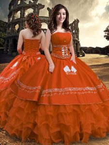 Beautiful Floor Length Zipper Vestidos de Quinceanera Rust Red for Military Ball and Sweet 16 and Quinceanera with Embroidery and Ruffled Layers