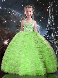 Sleeveless Lace Up Floor Length Beading and Ruffled Layers Little Girls Pageant Dress