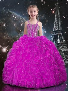 Floor Length Fuchsia Little Girls Pageant Dress Wholesale Organza Sleeveless Beading and Ruffles