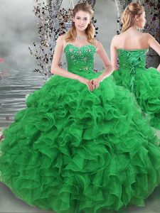 5aaaea0944a Simple Sleeveless Organza Floor Length Lace Up Quinceanera Gown in Green  with Beading and Ruffles