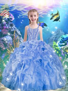 Light Blue Sleeveless Floor Length Beading and Ruffles Lace Up Little Girls Pageant Gowns