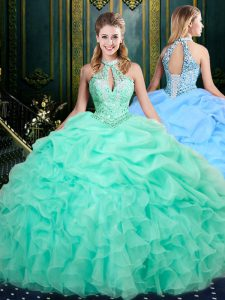 Floor Length Ball Gowns Sleeveless Apple Green Flower Girl Dresses for Less Lace Up