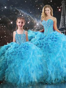 Flare Aqua Blue Sleeveless Beading and Ruffles Floor Length Quinceanera Gown