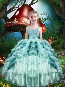Sleeveless Organza Floor Length Lace Up Little Girl Pageant Dress in Aqua Blue with Beading and Ruffles and Ruffled Layers