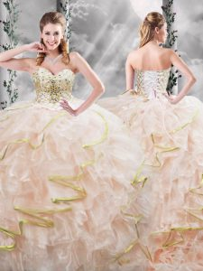 Peach Sleeveless Brush Train Beading and Ruffles Quinceanera Dress