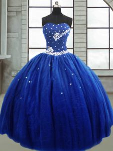 Royal Blue Lace Up Strapless Beading Ball Gown Prom Dress Tulle Sleeveless
