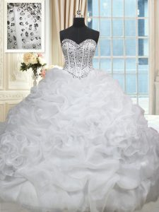 Fantastic White Sleeveless Beading and Pick Ups Lace Up Quince Ball Gowns