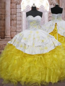 Yellow And White Ball Gowns Sweetheart Sleeveless Organza Brush Train Lace Up Beading and Appliques and Ruffles Quinceanera Dress
