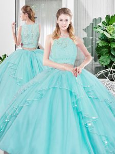 Aqua Blue Sleeveless Tulle Zipper Quinceanera Gowns for Military Ball and Sweet 16 and Quinceanera
