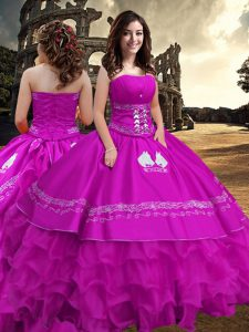 Glorious Sleeveless Zipper Floor Length Embroidery and Ruffled Layers Quince Ball Gowns