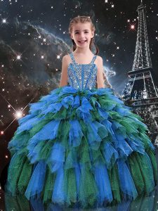Blue Sleeveless Floor Length Beading and Ruffles Lace Up Pageant Dress Toddler