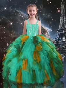 Turquoise Ball Gowns Straps Sleeveless Tulle Floor Length Lace Up Beading and Ruffles Child Pageant Dress