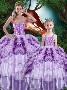 Custom Made Beading and Ruffles and Ruffled Layers 15th Birthday Dress Multi-color Lace Up Sleeveless Floor Length