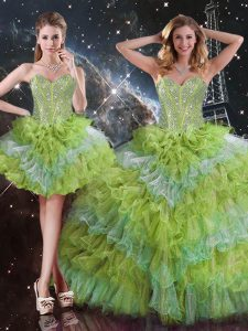 Beauteous Sleeveless Organza Floor Length Lace Up Sweet 16 Dresses in Multi-color with Beading and Ruffled Layers