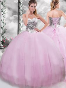 Sleeveless Beading Lace Up Quinceanera Gowns with Lilac Brush Train