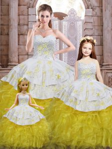 Superior Sleeveless Lace Up Floor Length Beading and Appliques and Ruffles Sweet 16 Dresses