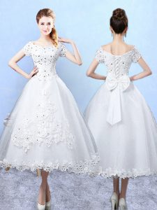 Beauteous Scoop Short Sleeves Dama Dress for Quinceanera Ankle Length Beading and Lace and Bowknot White Tulle