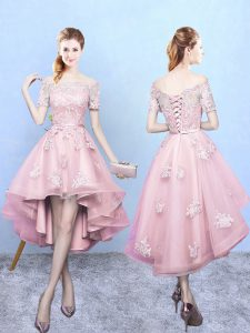 Fashion Short Sleeves High Low Lace Lace Up Quinceanera Dama Dress with Baby Pink