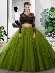 Deluxe Olive Green Long Sleeves Lace and Ruching Floor Length Quinceanera Gown