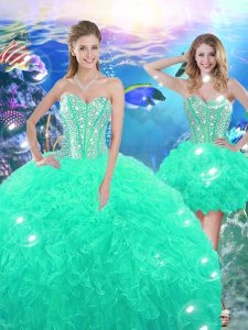 High Low Turquoise Quinceanera Dress Organza Sleeveless Beading and Ruffles