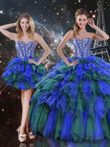 Glittering Sleeveless Beading and Ruffles and Ruffled Layers Lace Up Vestidos de Quinceanera