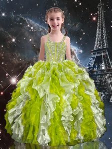 Ball Gowns Kids Pageant Dress Olive Green Straps Organza Sleeveless Lace Up