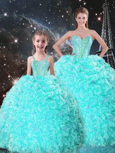 Cheap Turquoise Sleeveless Floor Length Beading and Ruffles Lace Up Ball Gown Prom Dress