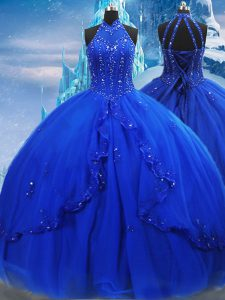 Clearance Royal Blue Ball Gowns Beading and Ruffles 15 Quinceanera Dress Lace Up Tulle Sleeveless