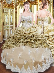 Top Selling Champagne Ball Gowns Beading and Appliques and Ruffled Layers and Pick Ups Quinceanera Gown Lace Up Taffeta Sleeveless Floor Length
