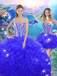 Beautiful Floor Length Lace Up Sweet 16 Dresses Blue for Military Ball and Sweet 16 and Quinceanera with Beading and Ruffles