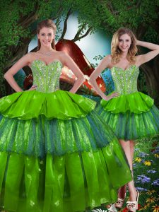 Lovely Olive Green Sleeveless Floor Length Beading and Ruffled Layers Lace Up Ball Gown Prom Dress