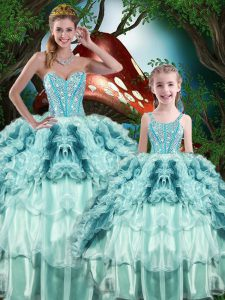 Multi-color Ball Gown Prom Dress Military Ball and Sweet 16 and Quinceanera with Beading and Ruffles Sweetheart Sleeveless Lace Up