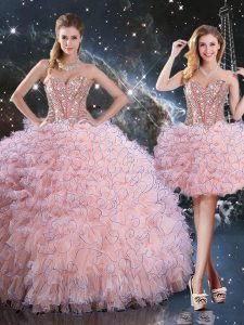 Sweetheart Sleeveless Lace Up Sweet 16 Dress Baby Pink Organza