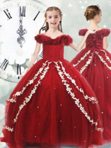 Popular Wine Red Sleeveless Appliques Lace Up Girls Pageant Dresses