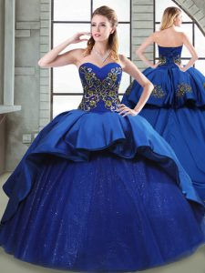 Blue Sweet 16 Dress Sweetheart Sleeveless Court Train Lace Up