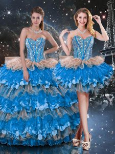 Multi-color Vestidos de Quinceanera Military Ball and Sweet 16 and Quinceanera with Beading and Ruffles and Ruffled Layers Sweetheart Sleeveless Lace Up