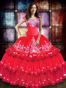 Coral Red Off The Shoulder Neckline Embroidery and Ruffled Layers Sweet 16 Dress Sleeveless Lace Up