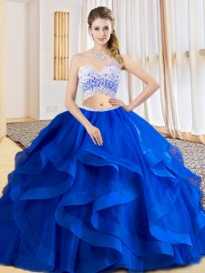 Royal Blue Sleeveless Beading and Ruffles Floor Length Ball Gown Prom Dress