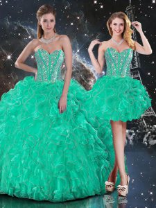 Designer Floor Length Lace Up Sweet 16 Dress Turquoise for Military Ball and Sweet 16 and Quinceanera with Beading and Ruffles