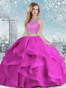 Fuchsia Ball Gowns Scoop Sleeveless Organza Floor Length Clasp Handle Beading and Ruffles 15th Birthday Dress