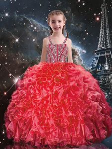 Fantastic Coral Red Ball Gowns Straps Sleeveless Organza Floor Length Lace Up Beading and Ruffles Child Pageant Dress
