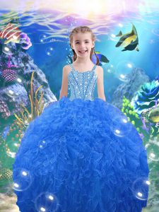 Baby Blue Ball Gowns Beading and Ruffles Little Girl Pageant Dress Lace Up Organza Sleeveless Floor Length