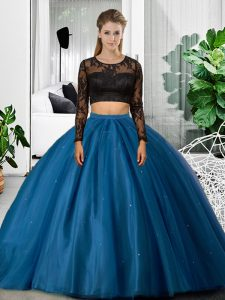 Romantic Blue Two Pieces Scoop Long Sleeves Tulle Floor Length Backless Lace and Ruching Vestidos de Quinceanera